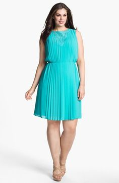 """Jessica Simpson Pleated Dress (Plus Size) #Nordstrom, Reg $148.00, Now $99.16; Sizes 14W & 16W only; (7/26/13). Accordion pleats ripple across a blousy chiffon frock embellished with lacy embroidery detailing the front. (Reviewers said very versatile, as V-neck looks good in front too!) Approx. length from shoulder to hem: 41"""" (2X). Slips on over head; Fully lined; Polyester; dry clean. Nordstrom's Encore Collection."""