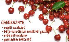Életmód cikkek : Cseresznye Zöldség és gyümölcsök hatásai Medicinal Plants, Doterra, Vitamins, Healthy Eating, Herbs, Diet, Fruit, Food, Gardening