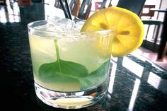 Golden Sun Margarita - With Basil & Limoncello (I do believe I would have taken the seeds out of that lemon slice before the photo.)