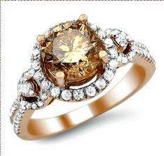Fancy Brown Round Diamond Engagement Ring Rose Pink Gold -- not bad for a chocolate diamond ring. Best Engagement Rings, Round Diamond Engagement Rings, Diamond Rings, Chocolate Diamond Engagement Rings, Gold Rings, Ring Set, Beautiful Rings, Bling Bling, Wedding Jewelry