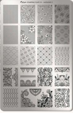 Moyra 31 Lacelove 2 Nail Art Stamping Plates, Nail Plate, Flower Ornaments, Butterfly Flowers, Zentangle Patterns, Dress Patterns, Mandala, Nail Polish, Quilts