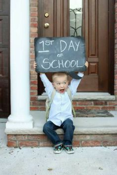 first day at school- enthusiastic pics with a chalkboard.. cant believe my lil man is off to school.. time flies!
