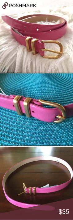 """NWT J Crew Pink Patent Painted Enamel Belt XS NWT J Crew Pink Patent Painted Enamel Belt XS Add ladylike polish to your look with this not-too-narrow, not-too-wide belt in shiny patent leather. Finished with painted enamel hardware, it has charm to spare. Label marked through by manufacturer.  Leather. Width: 1 3/16"""". Length: 29"""" to smallest hole, 32"""" to largest,  36"""" total length.  Import. Item 12358. J. Crew Accessories Belts"""