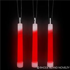 """6"""" RED GLOW STICK These 6-inch Red Glow Sticks come with a bright, vibrant color and illuminate the dark. Each glow stick comes with a loop so it can be put on a necklace or hung for decoration. Simply snap the glass capsule to make the chemicals mix together and create light. This item is perfect for night time parties. For ages 5+. #halloween #trickortreat #lightupnecklaces"""