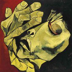 Oswaldo Guayasamín (1919-1999) Rostro y mano, 1995
