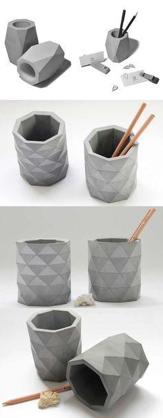 Arts Concrete Pen Pencil Holder Vase Office Desk Stationery Organizer Source … – Home Office Design Diy Cement Art, Concrete Crafts, Concrete Pots, Concrete Projects, Diy Stationery Organizer, Desk Stationery, Beton Design, Concrete Design, Design Design