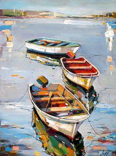 Landscape Art, Landscape Paintings, Pinterest Pinturas, Creation Art, Boat Art, Art Graphique, Acrylic Art, Amazing Art, Watercolor Paintings
