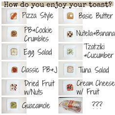 Creative ways to top toast! Check out all these toast toppings!