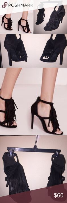 Missguided Faux Suede Fringe Tassel Black Heels New without box.  Size us 10. Missguided Shoes Heels
