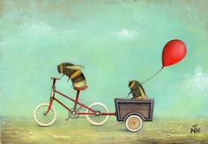 Vintage Bee & Beehives - Bee Decor — The Beehive Shoppe Art Fantaisiste, Bicycle Painting, I Love Bees, Illustration Art, Illustrations, Bicycle Illustration, Vintage Bee, Printed Balloons, Bee Art