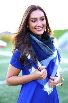Royal Blue Blanket Scarf