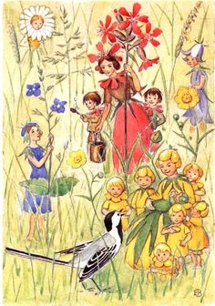 Flower Fairies and Bird, Elsa Beskow illustration Elsa Beskow, Vintage Fairies, Scandinavian Art, Flower Fairies, Fairy Art, Children's Book Illustration, Illustrators, Fantasy Art, Fairy Tales