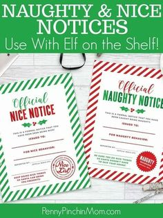 Elf on the Shelf Idea - Nice and Naughty Notice Printable! A fun way to do something unique with your Elf on the Shelf this year. No stressing about moving him or her or doing something fun. Set them on the table with a notice for your child or children and watch their eyes light up! Elf on the Shelf printable | Christmas printables | Free holiday #Elfontheshelf #Christmas #Christmasprintables #KidsChristmas