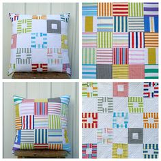 Red Pepper Quilts: More Stripes ~ Two Patchwork Pillows