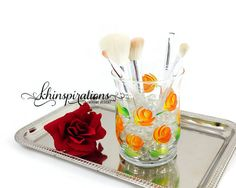 Check out this item in my Etsy shop https://www.etsy.com/listing/199415014/orange-roses-makeup-brush-holder-pencil