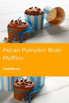 Pecan Pumpkin Bran Muffins are a great snack or packed lunch option. Bran Cereal, Bran Muffins, Muffin Tins, Pumpkin Recipes, Brunch Recipes, Pecan, Baking Soda, Canola Oil, Snacks
