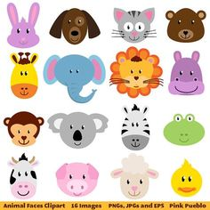 Animal Faces Clipart Clip Art, Zoo Jungle Farm Barnyard Forest Woodland Animal Clipart Clip Art - - - these would be so cute to make masks of fun foam for kids, maybe a birthday party? Deco Baby Shower, Le Zoo, Safari Party, Jungle Theme, Animal Faces, Cute Animals, Baby Animals, Doodles, Clip Art