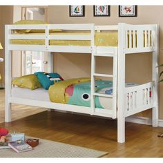 Furniture Of America Jina Twin Over Twin Wood Bunk Bed White Beds