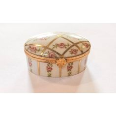 Limoges Pink Rose Trinket Box, Hand Painted, French Vintage SUMMER... ($82) ❤ liked on Polyvore featuring home, home decor and small item storage