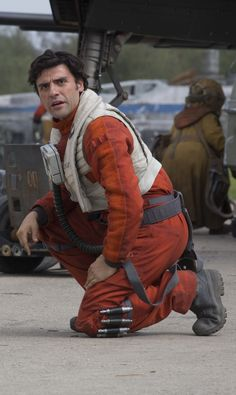 Poe Dameron {The Force Awakens} when BB8 tells him Finn is there