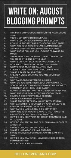 Write on: August blogging prompts - Hello Neverland