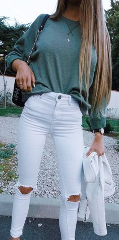 #winter #outfits green sweater with white distressed jeans