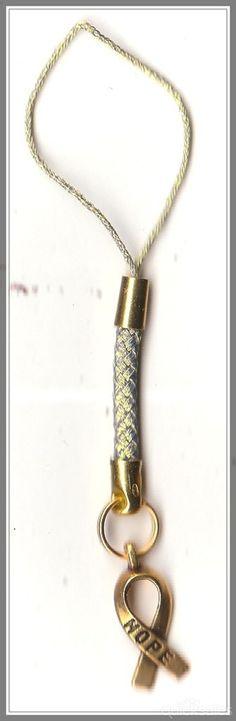 Hope Ribbon Charm Mobile Phone/Bag Dangle by MadAboutIncense - $6.50