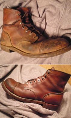Red Wing Iron Ranger's, before and after Otter Wax Saddle Soap & Leather Salve cleaning and conditioning: Benny's poor boots