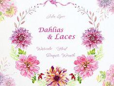 Watercolor Floral Bouquets and Wreaths Frames. Dahlias