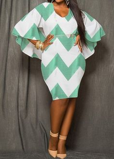 Chevron Print Cutout Back Chiffon Dress Plus Size Fashion For Women, Plus Size Womens Clothing, Clothes For Women, Blue Chiffon Dresses, Dresses With Sleeves, Sleeve Dresses, Plus Size Dresses, Plus Size Outfits, Boho Plus Size