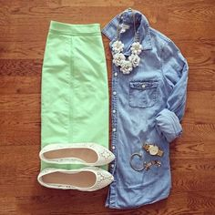 Mint and chambray