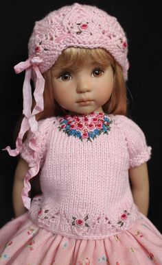 "Handmade Embroidered Knit Outfit for Effner 13"" Little Darling Dolls 