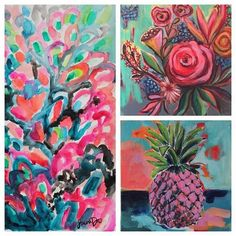 Original Artwork by Laura Dro www.lauradrodesigns.com Textile designer and Artist #doseofcolor #watercolorpainting #colorfulart #livecolorfully #dscolor #dsart #lauradro #textiledesigner #pink #pineapple #floralpattern #floridagirlinchicago #floridastyle #boho #bohemianstyle #beachstyle #westpalm #palmsprings #