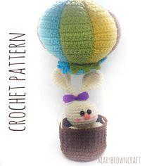 Crochet Pattern-Crochet Bunny- Amigurumi pattern- Balloon-Crochet balloon pattern-Amigurumi crochet pattern-Bunny-Amigurumi Bunny-Bunny Set by MaryBrowncraft on Etsy