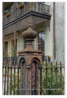 Ironwork Fence Post Photo - New Orleans Photography - Rusted Fence Photo