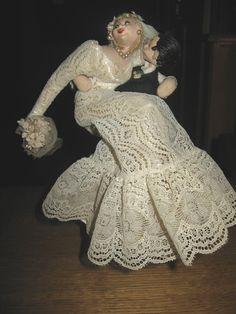 Vintage Klumpe Roldan Bride & Groom Dolls.