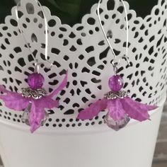 boucles d'oreilles argentées fleur en tissu violette perles à facettes : Boucles d'oreille par tresoreloa