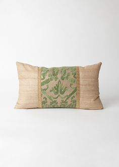 """SPLENDOR COLLECTION PILLOW. MADE BY HAND AND EMBELLISHED WITH LIMITED RUN FORTUNY FABRIC. KNIFE EDGE PILLOW MEASURES 10""""X17"""". PILLOW FRONT & BACK FINISHED IN COMPLIMENTING IMPORTED SILK. WOVEN ANTIQUE GOLD TRIM SOURCED FROM EUROPE. DOWN FILLED PILLOW INSERT. AVAILABLE IN 8 FORTUNY FABRIC COLORS/PATTERNS. GO TO WWW.SPLENDORCOLLECTIONS.COM."""