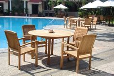 new 5 pc luxurious grade a teak dining set 48 round table and 4 wave stacking arm chairs