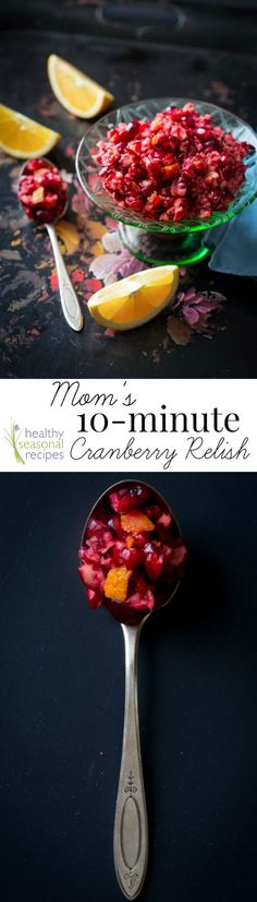 Blog post at Healthy Seasonal Recipes : My mom's 10 minute recipe for fresh raw cranberry sauce with orange for Thanksgiving.    Thanksgiving dinner for my family was always [..]