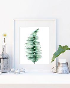 Fern leaves palm print wall art, green tropical fern leaf print. Watercolour tropical leaf print, digital print, printable fern leaf art by OnceuponpaperCo on Etsy