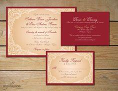 Antique Lace Wedding Invitation Suite // DIY Printable Wedding Invitation, Lace Wedding Invite // Red and Gold Wedding