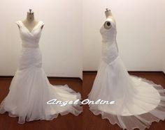 Plus Size Wedding Dresses.Cap Sleeves Wedding Dress.V-Neck Wedding Dress.Cheap Wedding Dress.White Wedding Dress.Chapel Train Wedding Dress by Angelonlinedress on Etsy