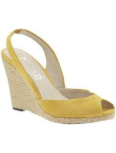 So many things to love about these feminine, yellow, peep-toe, sling-back Espadradilles