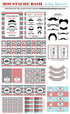 INSTANT DOWNLOAD, Moustache Bash, Baby Shower, Party Printable Package, Red, Blue, Black, Mustache