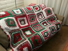 Finished!  Christmas crochet...granny square afghan.