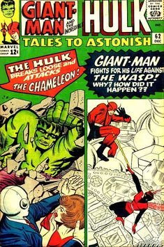 This is a mid grade item. Cover by Jack Kirby and Chic Stone. Giant-Man Versus the Wonderful Wasp! A Marvel-Masterwork Pin-Up of Hulk, art by Jack Kirby and George Roussos. Published 1964 by Marvel. Marvel Comics Superheroes, Marvel Comic Books, Comic Books Art, Comic Art, Marvel Vs, Marvel Heroes, Jack Kirby, Tales To Astonish, Hulk Comic