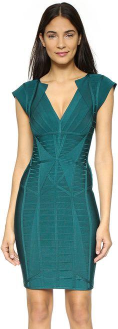 Herve Leger Penelope Bandage Dress #emerald