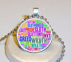 7 Deadly Sins Necklace $5.00 - Personalized With Your Image $10.00 at www.pifs.etsy.com