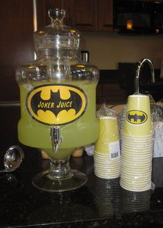 Batman party Joker Juice Sign with lemonade. Love it!